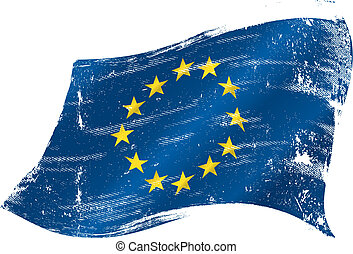 bandeira, grunge, europeu