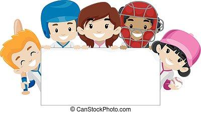 bandeira, jogadores, basebol, segurando