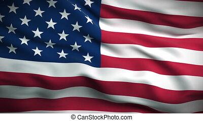 bandeira, looped., americano, hd.
