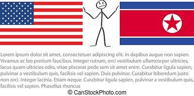 bandeira, norte, bandeira, américa, entre, nós, vetorial, estados, tensão, unidas, coréia, stickerman, acalmar