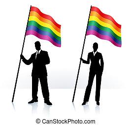 bandeira ondulando, orgulho alegre, silhuetas, negócio