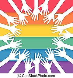 bandeira, orgulho, levantamento, mãos