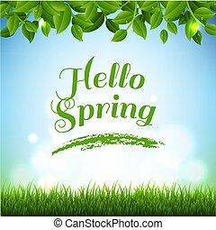 bandeira, primavera, capim, ramos, verde