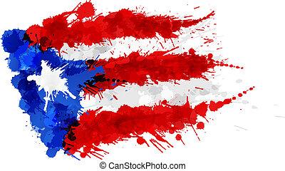 bandeira, rico, puerto, feito, esguichos, coloridos