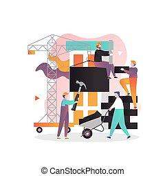 bandeira, teia, construção, site web, vetorial, página, conceito, indústria