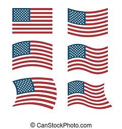 bandeira, vário, bandeiras, américa, nacional, estados, unidas, americano, jogo, branca, flag., shapes., símbolo, evoluindo, usa., experiência.