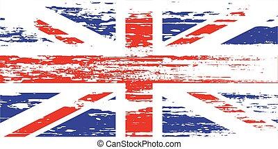 bandeira, vetorial, branca, grunge, reino unido, ilustração, experiência.