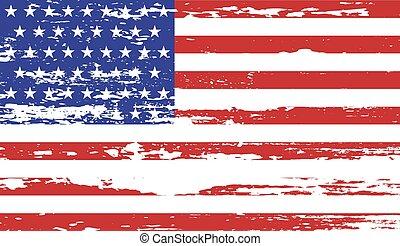 bandeira, vetorial, eua, branca, grunge, ilustração, experiência.