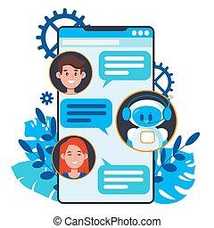 bandeiras, aplicação, usuários, apartamento, cute, smartphone., minimalistic, conversa, chatbot, conversando, local, robô, teia, caricatura, móvel, vetorial, concept., ilustração, bot