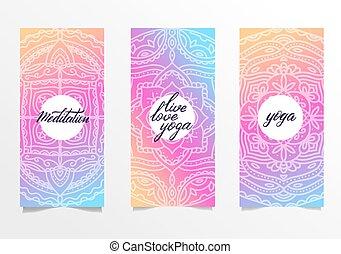 bandeiras, escova, modelo, ioga, cor, leaflets, locais, jogo, experiência., posters., mandala, espiritual, mão, desenvolvimento, mandalas, 3, gradiente, luminoso, lettering.