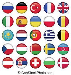 bandeiras européias, redondo, ícones
