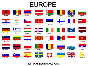 bandeiras, europeu, lista, país, tudo