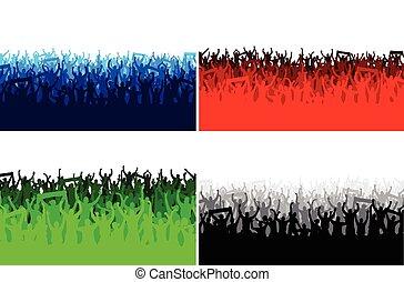 bandeiras, feliz, pessoas