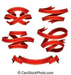 bandeiras, jogo, vermelho, (vector)