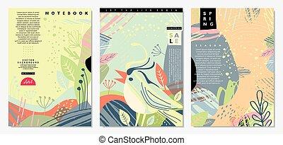 bandeiras, primavera, coberturas, caderno