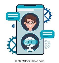 bandeiras, robô, cute, smartphone., bot, aplicação, usuários, teia, conversa, chatbot, caricatura, móvel, vetorial, apartamento, concept., conversando, ilustração, local