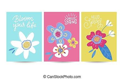 bandeiras, vetorial, decorado, apartamento, abstrato mão, primavera, cartazes, flores, plants., olá, sazonal, set., desenho, desenhado, selection., artisticos, arte floral, linha, ilustração, cobrança