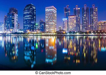 bangkok, noturna, cidade, centro cidade