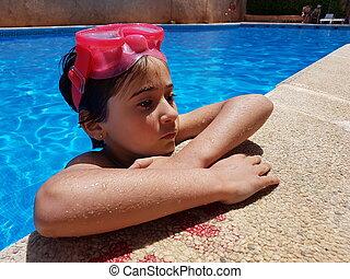 banhar-se, pequeno, óculos proteção, mergulhar, menina, piscina