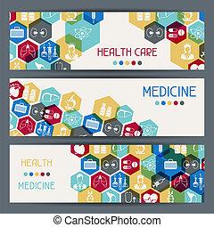 banners., saúde médica, horizontais, cuidado