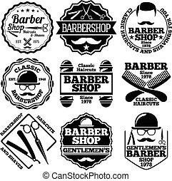 barbeiro, vetorial, etc., jogo, etiquetas, lojas