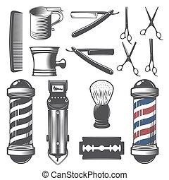 barbeiro, vindima, loja, jogo, elements.