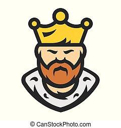 barbudo, king., illustration., vetorial, caricatura, man.