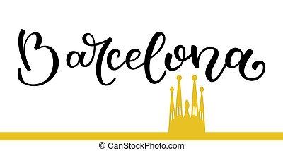 barcelona, silueta, sagrada, lettering, mão, familia