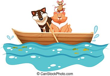barco remos, cão, gato