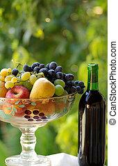 basket., garrafa vinho, fruta, vermelho