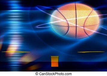 basquetebol, iluminar, cercar