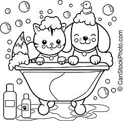 bath., coloração, levando, cão, gato, vetorial, pretas, branca, banheira, página