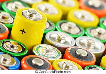 batteries., desperdício, composição, alcalino, químico