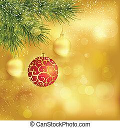 baubles, fundo, abeto, natal, ramos, dourado