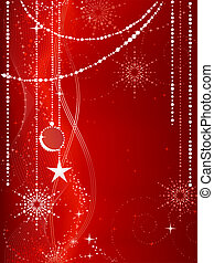baubles, grunge, fundo, neve, elements., natal, festivo, flocos, estrelas, vermelho