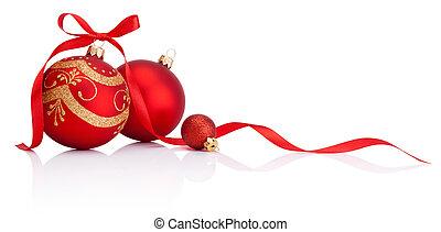 baubles, isolado, arco, decoração, fita, fundo, christmas branco, vermelho