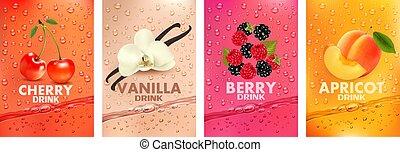 baunilha, cereja, frutas, splashing., fruits., 3d, together-, respingue, damasco, suco, framboesa, etiquetas, fruta, fresco, baga, amora preta, jogo, vetorial, drink., bebida, ilustração