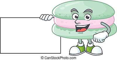baunilha, polegares, macarons, azul, caricatura, branca, desenho, engraçado, tábua, cima