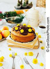 baunilha, tradicional, pedaço, lama, estilo, glaze., icing., chocolate, tabela., caseiro, cake., branca, rústico, natural, bolo, light.
