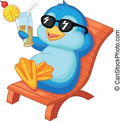 bea, cute, sentando, pingüim, caricatura