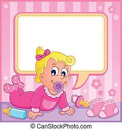 bebê, 1, menina, tema, imagem