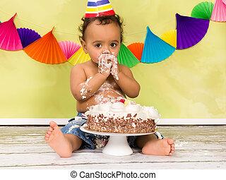 bebê, aniversário, primeiro