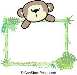 bebê, bambu, macaco, quadro
