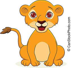bebê, caricatura, leão