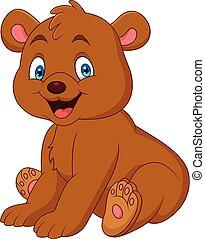 bebê, caricatura, urso, feliz