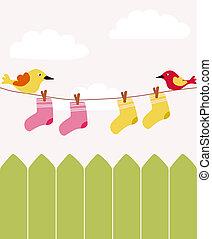 bebê, cerca, lavanderia