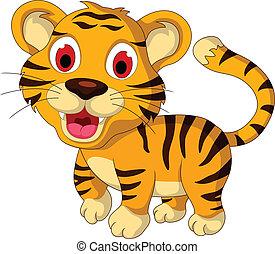 bebê, cute, andar, tiger