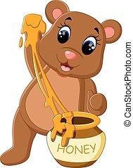 bebê, cute, caricatura, urso