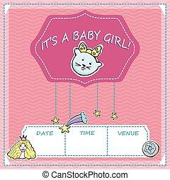 bebê, cute, pequeno, card., girl., texto, saudação, chuveiro, stars., vetorial, arco íris, é, gatinho, princesa, stickers., cometa