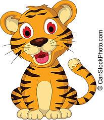 bebê, cute, posar, tiger